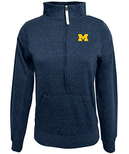 Alta Gracia NCAA Michigan Wolverines Women's 1/2 Zip 50/50 Fleece Top, Navy, Large ()