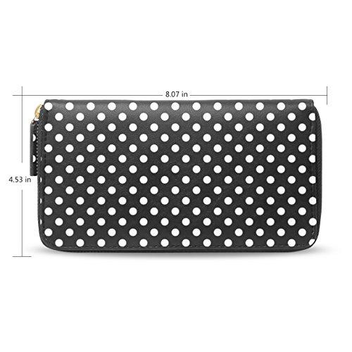 - Womens White Polka Dot Black Pattern Pattern Leather Long Wallet & Purse Case Card Holder