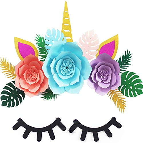 Large Unicorn Birthday Party Backdrop Decorations Rainbow Unicorn Flower Background with Giant Horn Ears Eyelashes and Tropical Leaves for Baby Shower, Bridal Shower and Kids Wall Decal