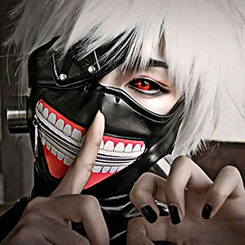 Japanese Anime Tokyo Ghoul Kaneki Ken Cosplay Full Face Head Mask Novelty Costume Party PU Leather Black Festival Mask]()