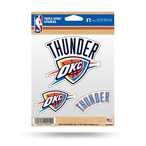 fan products of NBA Oklahoma City Thunder Triple Spirit Stickers, Blue, White, 3 Team Stickers