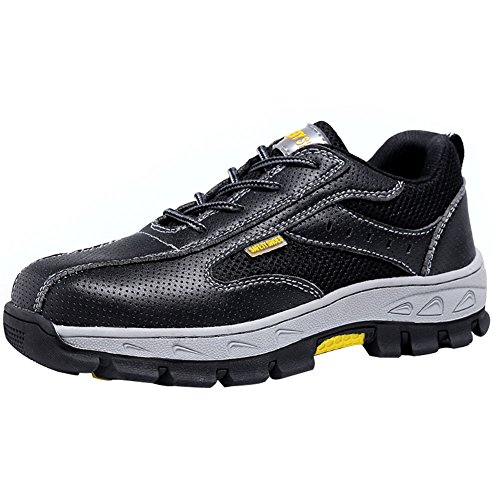 Eclimb Men's Low-top Leather Steel-Toe Work Shoe With Lace-up Closure