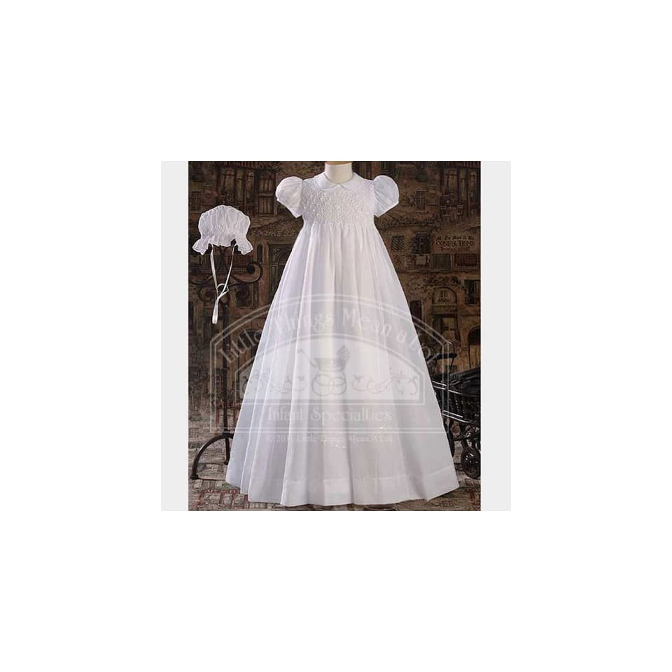 Baby Girls Pretty White Smocked Baptism Gown Dress Small Infant And Toddler Christening Apparel Clothing