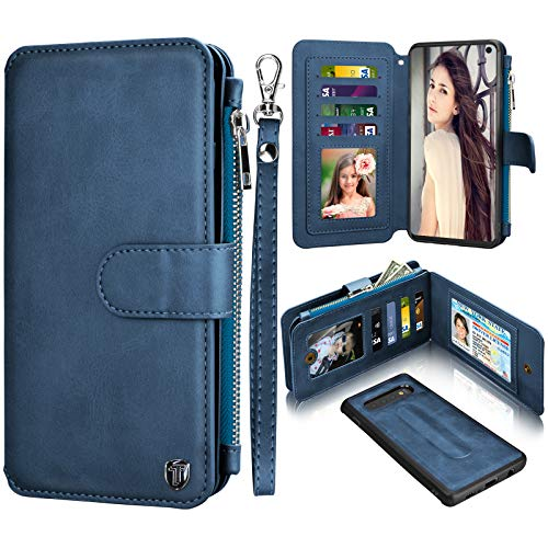 Money Phone Cover - Njjex Wallet Case for Samsung Galaxy S10, for Galaxy S10 Case, PU Leather ID Credit Card Slots Holder Zipper Money Pocket Purse Magnetic Detachable Folio Flip Phone Cover for Samsung S10 [Dark Blue]