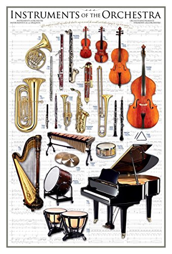EuroGraphics Laminated Instruments of the Orchestra Art Print Poster Symphony Classical Music 24 x 36 ()