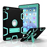 iPad 4 Case, - SinYong iPad4/3/2 Case Cover - Shock-Absorption / High Impact Resistant Hybrid Dual Layer Armor Defender Full Body Protective Case (Black+mint green)