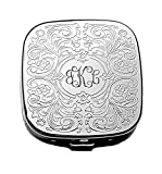 Personalized Pill Box and Mirror Silver Plated Paisley Cover with 3 Compartments Engraved Free
