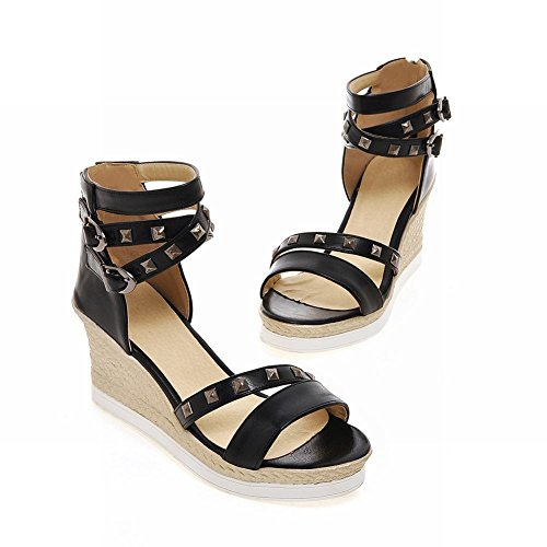 Carolbar Womens Nit Flera Spänne Populära Mode Ankelbandet Datum Klänning Öppen Tå Kilar Sandaler Svart