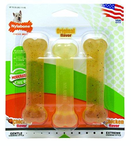 Nylabone FlexiChew Regular Bone Dog Chew Toy, Triple Pack (Nylabone Flexible Chicken Bone)