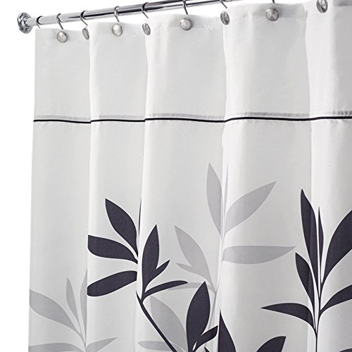 NEW InterDesign Leaves Long Shower Curtain, Black And Gray