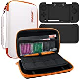 4 in 1 Protective Kit Compatible New Nintendo 2DS XL, AFUNTA Zipper Carrying Case, Silicone Cover, Stylus & 2 PET Films Screen Protectors for Top and Bottom Screens, for 2DS LL and Accessories - White