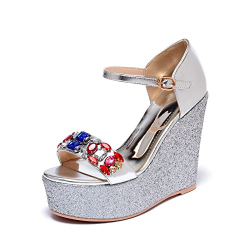 Toe Leather Solid Women's High Silver Sandals WeenFashion Buckle Patent Open Heels I64wRx