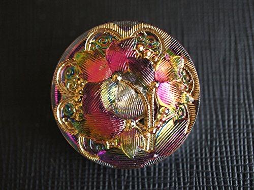 Hand Made Art Czech Glass Button Pink-Green Vitrail - Gold, Size 12'', 28mm, - Button Glass Czech Gold