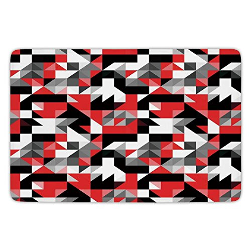 Bathroom Bath Rug Kitchen Floor Mat Carpet,Red and Black,Abstract Geometric Half Triangles Squares Maze Inspired Image,Charcoal Grey and White,Flannel Microfiber Non-slip Soft Absorbent (Geometric Charcoal)
