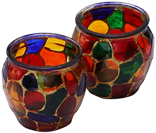 Tealight Holders – SET OF 2 Mosaic Glass Tealight Holder 2.1