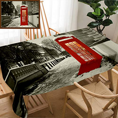 Skocici Unique Custom Design Cotton and Linen Blend Tablecloth London Red Telephone Booth at DawnTablecovers for Rectangle Tables, 70