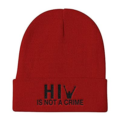 HIV is Not a Crime Hat Knit Beanie Cap - Embroidered One Size (Red)