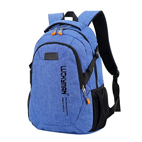 Price comparison product image Outsta Laptop Bags, Backpack Canvas Travel Bag Backpacks Unisex Designer Student Bag Lightweight Classic Basic Water Resistant Backpack Toddler School Bag (Blue)
