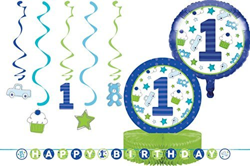 1st Birthday Party Decorations - Bundle Includes: Ribbon Banner, Dizzy Danglers, Foil Balloon, and a Centerpiece in Blue and Lime Green