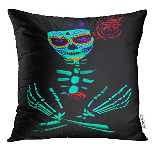 UPOOS Throw Pillow Cover Young Girl in The of Santa Muerte Saint Death Sugar Skull with Bright Make Up Studio Photography Decorative Pillow Case Home Decor Square 20x20 Inches Pillowcase -