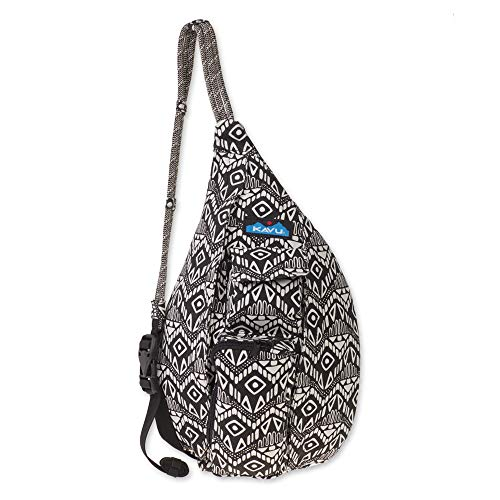 (KAVU Mini Rope Bag Crossbody Shoulder Cotton Backpack​ - Black Batik, One Size)