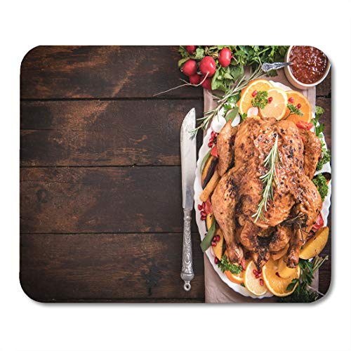 (Semtomn Mouse Pad Served Split Roasted Stuffed Small Turkey and Vegetables from Mousepad 9.8