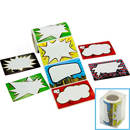 Superhero Name Tags/Labels Perforation Line Design for School Office Home Roll Stickers, 200 (Unique Classroom Themes)