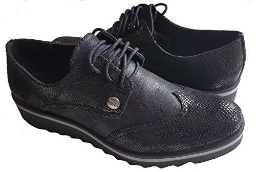 Mujer Negro Cordones Sintético Zapatos Bombes Material Les De P'tites w7Opqp