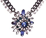 HONEYJOY Lady Simple Blue Flower Alloy Rhinestone Necklace