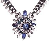 HONEYJOY Lady Simple Blue Flower Alloy Rhinestone Necklace for Women Black Friday