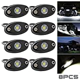 #8: LED Rock Lights White for JEEP ATV SUV Offroad Truck Boat Underbody Glow Trail Rig Lamp Interior and Exterior-Waterproof Shockproof(Pack of 8-White)