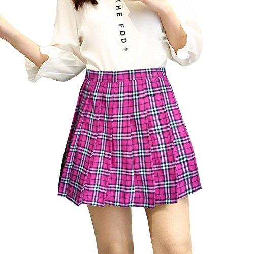 FORNY School Girl Role Play Costume Mini Plaid Skirt Cosplay Lingerie Cheerleading Uniform (#1, XXL) -