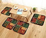 Printsonne Luxurious Household Cushions Chairs unky TribalDepicting African Style Dance Moves and Instruments Spiritual Soft and Comfortable W31.5 x L31.5/4PCS Set