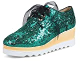SHOWHOW Women's Casual Sequins Sneakers - Ribbon Lace up - Wedged Platform Shoes Green 8.5 B(M) US