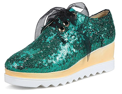 SHOWHOW Women's Casual Sequins Sneakers - Ribbon Lace up - Wedged Platform Shoes Green 8.5 B(M) US by SHOWHOW