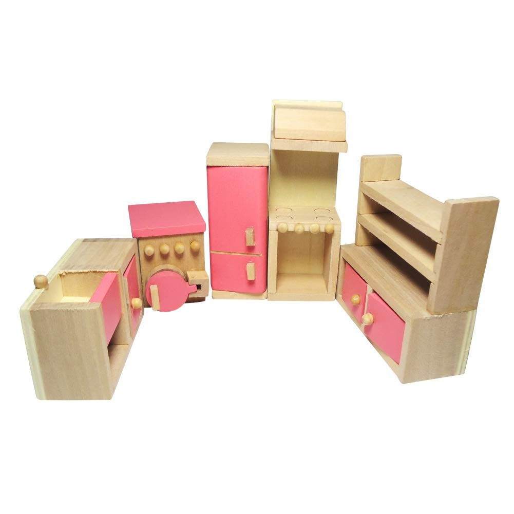 Living Room Timall Wooden Dollhouse Furniture Doll Accessories DIY Set Miniature Furniture Dollhouse Decoration Pretend Play Kids