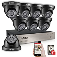 ZOSI 8CH HD 720P Video Security System and (8) HD 1.0MP 1280TVL Surveillance Weatherproof CCTV Cameras with 65ft Night Vision, 1TB Hard Drive