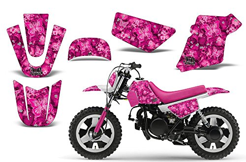 Decal Kit Graphics (Butterfly-AMRRACING MX Graphics decal kit fits Yamaha PW50 All years-Pink-Pink-BG)