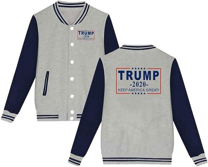 Trump Pence 2020 Unisex Slim Fit Varsity Baseball Jacket Double Side Print Sweatshirt