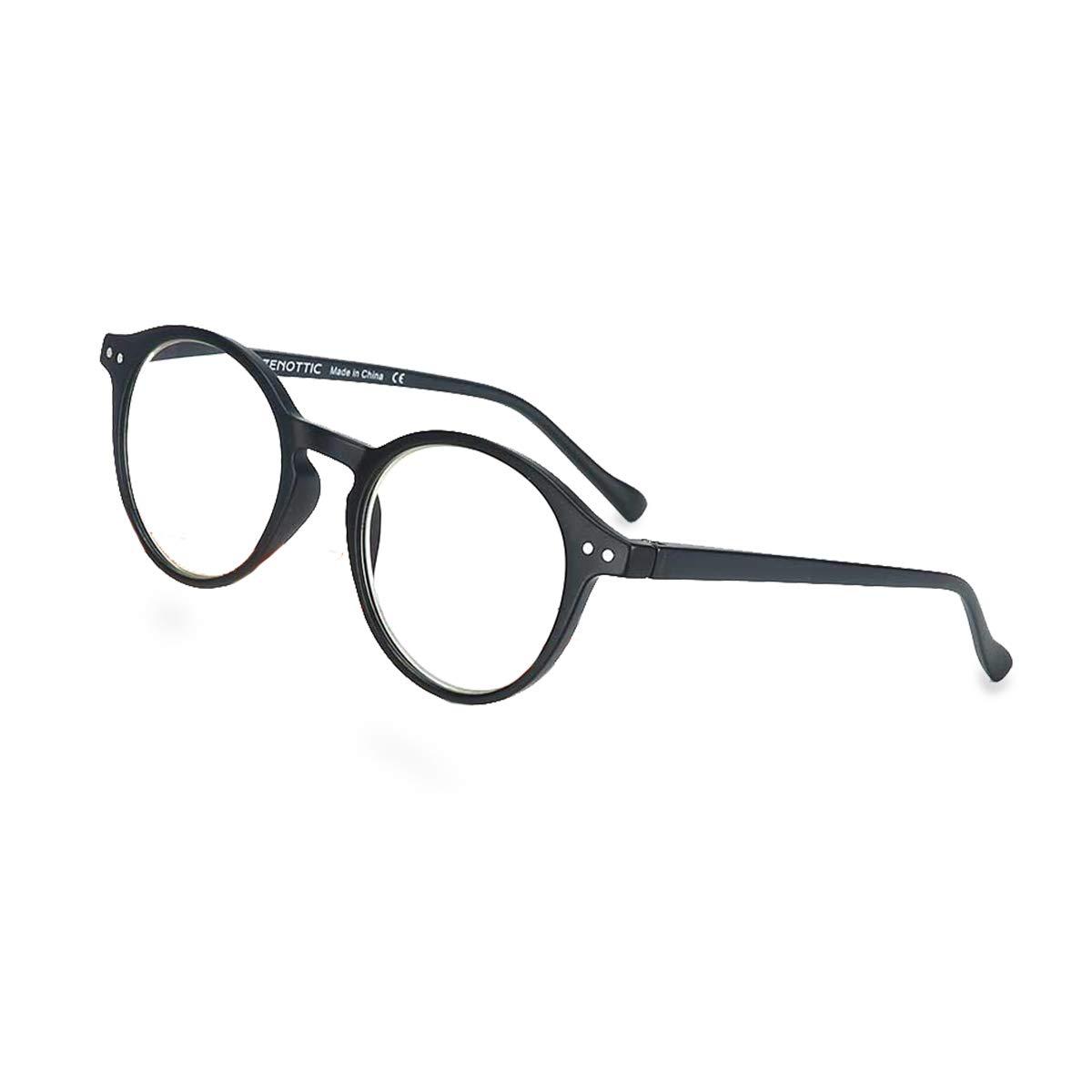 Cristallo, 0.00x ZENOTTIC Occhiali da Lettura Presbiopia Anti Luce Blu con Lenti Antiriflesso Uomo e Donna Leggero Telaio Rotondo Vintage Occhiali