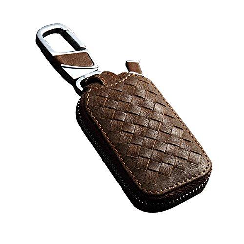 MoreFarther Car Key Wallet Holder Car Key Hider Classic Weave Style Car Key Chain Key Bag Holder Car Key Protect Cover Case Car Remote Key Holder (tan S)