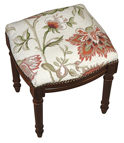 (Kensington Row Home Collection - Accent Stools - Waverly Manor Needlepoint Upholstered Stool - Vanity Seat - Cream - Wood Stain Frame)