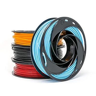 Gizmo Dorks Low Odor ABS 3D Printer Filament 3mm (2.85mm) 200g Sample Pack - Black, Sky Blue, Orange, Red