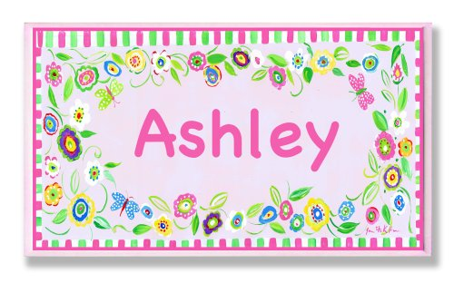 The Kids Room by Stupell Ashley, Pink and Green Border with Flowers Personalized Rectangle Wall ()