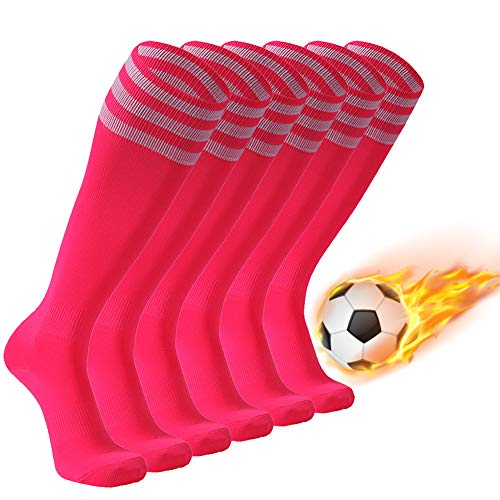 FOOTPLUS Soccer Socks, Men and Women Long Tube Triple Stripe School Uniform Socks for Softball Baseball Lacrosse Hockey Volleyball, 6 Pairs Pink+Black Stripe, Medium