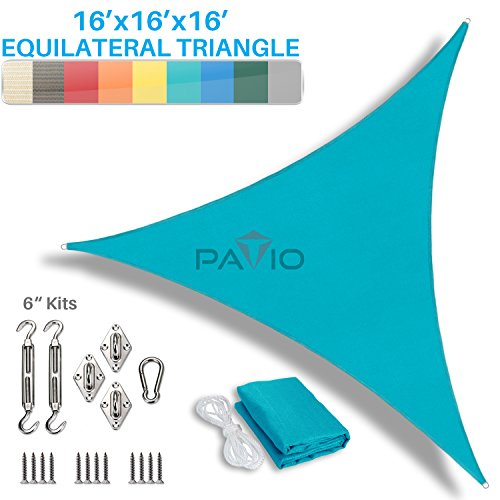 Patio Paradise 16 x 16 x 16 Sun Shade Sail with 6 inch Hardware Kit, Turquoise Green Equilateral Triangle Canopy Durable Shade Fabric Outdoor UV Shelter – 3 Year Warranty – Custom