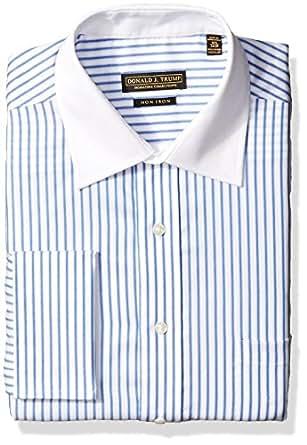"Trump Mens Donald Trump Non Iron Twill Stripe Shirt, Blue, 14.5""/32-33"""