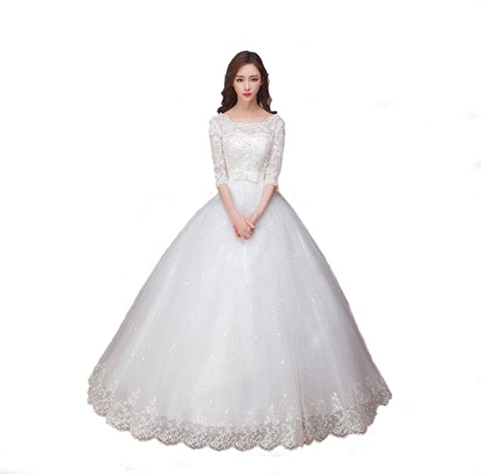 d820b1c8e03d6 Christian Wedding Ball Gown White Latest Partywear Evening Gown (10): Amazon.in:  Clothing & Accessories