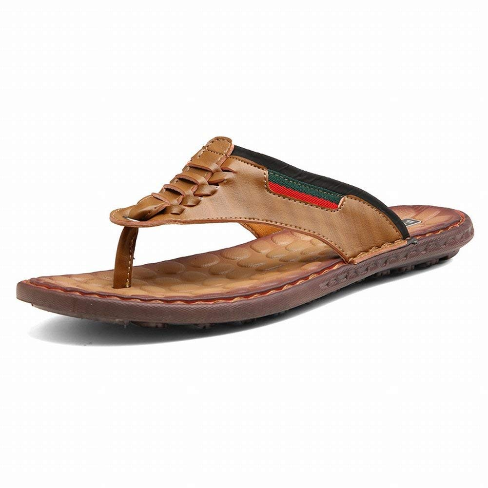 FuweiEncore Sandalen Sandalen und und und Hausschuhe Herren Rutschfeste Sandalen Herren Flip Sandalen Knöchelriemen Hausschuhe (Farbe   Braun, Größe   43) 667fce