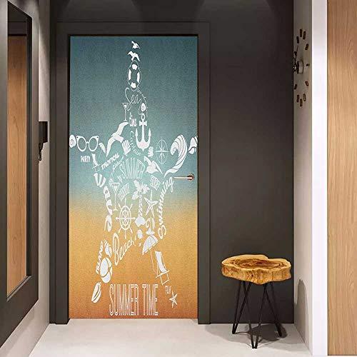 Glass Door Sticker Decals Starfish Summer Time Travel Icons Adventure Journey Retro Vintage Concept Door Mural Free Sticker W38.5 x H79 Slate Blue Orange White (Storage Atlanta Concepts)